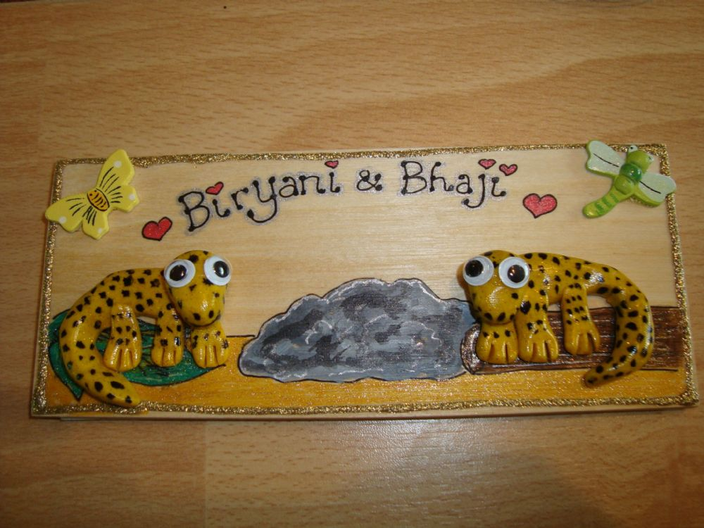 2 character 3d Leopard Gecko Personalised VIVARIUM TERRARIUM Children's Bedroom Reptile Lizard Sign Handmade plaque